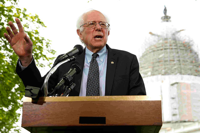 U.S. Sen. Bernie Sanders, I-Vt., holds a news conference after he announced his candidacy for the 2016 Democratic presidential nomination, on Capitol Hill in Washington, April 30, 2015. (Reuters/J ...