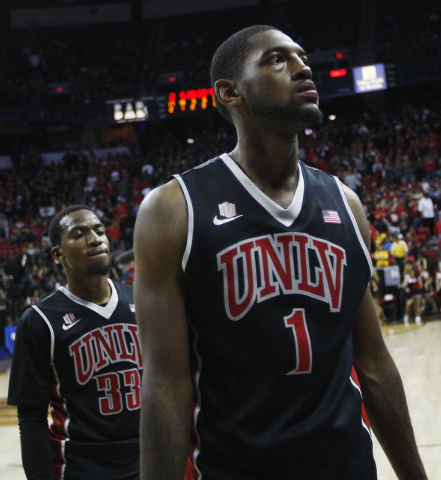 UNLV's Roscoe Smith (1) and Deville Smith (33) head off the court after losing to San Diego State 59-51 during their Mountain West basketball tournament semi-final game at the Thomas & Mack Center ...