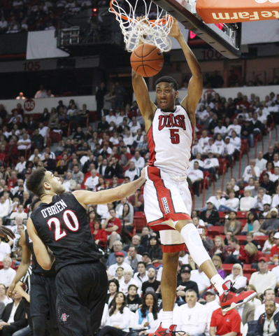 UNLV forward Christian Wood dunks on San Diego State during the second half of their Mountain West Conference game against San Diego State Wednesday, March 4, 2015, at the Thomas & Mack Center. Sa ...