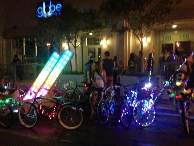 The Blinking Man bicycle ride, which attracts hundreds of bicyclists who adorn their bikes in colorful lights for a downtown Las Vegas ride, is scheduled for 7 p.m. Saturday. Photo by: Alan Snel