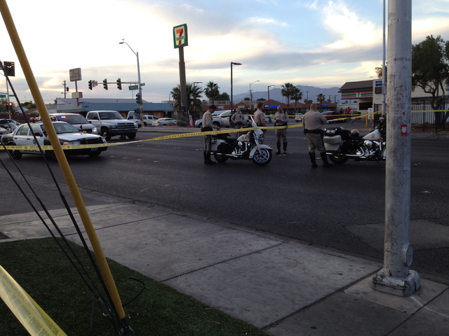 Las Vegas police work at the scene of an accident at Bonanza Road east of Las Vegas Boulevard on Thursday, April 30, 2015. The vehicles were removed from the area, but police shut the road as the  ...