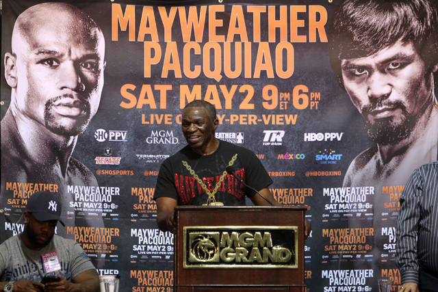 Floyd Mayweather Jr.'s trainer Floyd Mayweather Sr. speaks during a news conference Thursday, April 30, 2015, at the MGM Grand. (Sam Morris/Las Vegas Review-Journal) Follow Sam Morris on Twitter @ ...