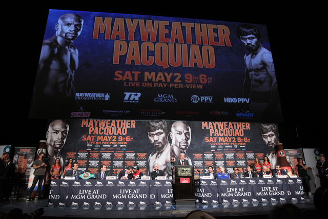Top Rank Founder and CEO Bob Arum speaks during a news conference for the unification fight between WBC/WBA welterweight champion Floyd Mayweather Jr. and WBO welterweight champion Manny Pacquiao  ...