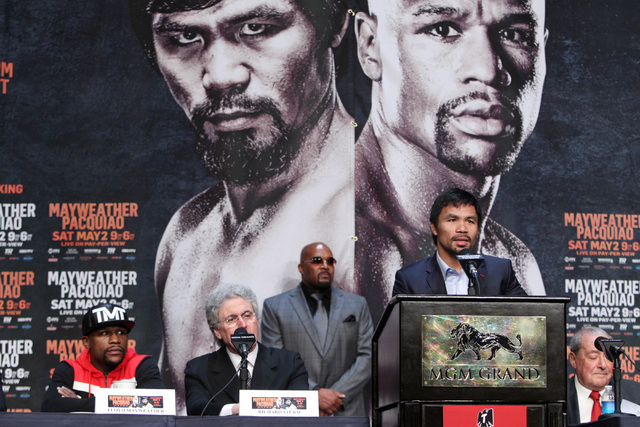Manny Pacquiao speaks during the final news conference for his fight against Floyd Mayweather Jr. Wednesday, April 29, 2015 in the Ka Theater at the MGM Grand. (Sam Morris/Las Vegas Review-Journal ...