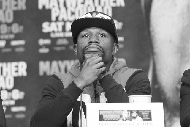 Floyd Mayweather Jr. listens during the final news conference for his fight against Manny Pacquiao Wednesday, April 29, 2015 in the Ka Theater at the MGM Grand. (Sam Morris/Las Vegas Review-Journa ...