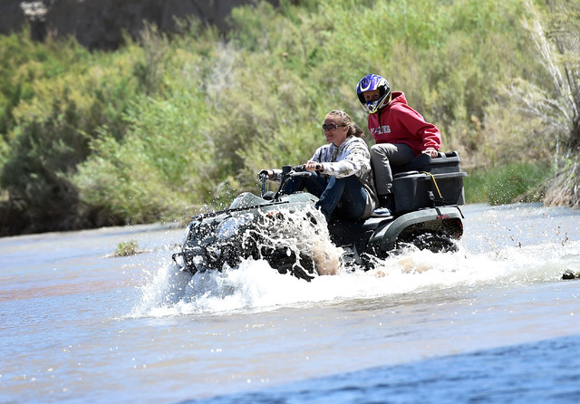 Party goers use a ATV to cross the Virgin River during an event at the Bundy Ranch in Bunkerville on Saturday, April 11, 2015. Rancher Cliven Bundy is hosting barbecue celebrating the one-year ann ...
