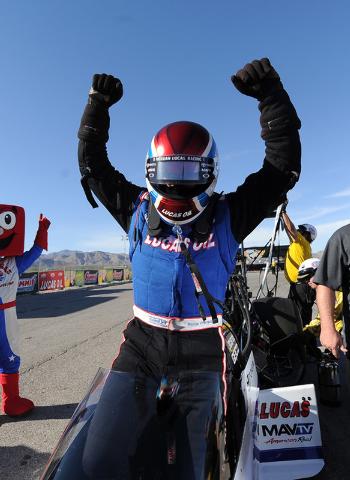NHRA Top Fuel driver Richie Crampton celebrates winning SummitRacing.com Nationals at The Strip at Las Vegas Motor Speedway in Las Vegas Sunday April 12, 2015.(Josh Holmberg/Las Vegas Review Journal)