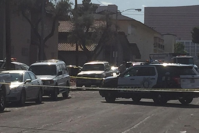 First responders were called to the shooting about 2:30 p.m. to the complex in the 1000 block of Lisbon Avenue, Metro spokesman officer Larry Hadfield said. (Wes Juhl/Las Vegas Review-Journal)