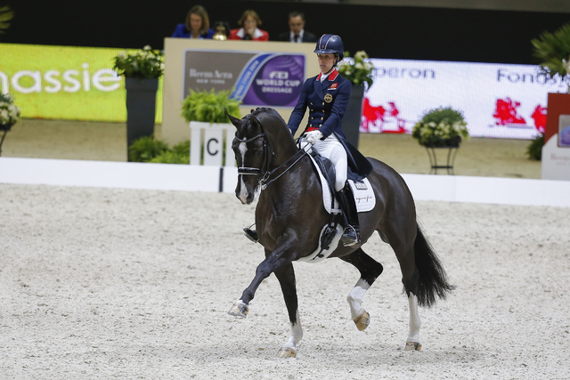 Charlotte Dujardin and Valegro at the FEI World Cup Dressage Final in Lyon, France, in 2014. (Dirk Caremans)