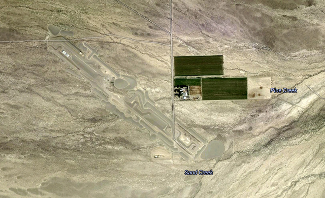 "Google Maps satellite view of the massive earthwork art project ""City"" by Michael Heizer. The earthwork is being built in Garden Valley in Lincoln County. (Google Maps)"