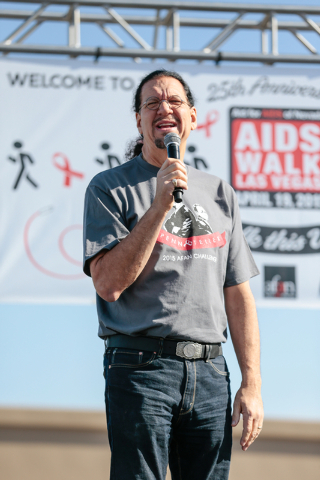 Penn Jillette speaks to the crowd prior to the start of the Aid for AIDS of Nevada (AFAN) 25th Annual AIDS Walk Las Vegas at Town Square Las Vegas, South Las Vegas Boulevard,  Las Vegas, Sunday, A ...