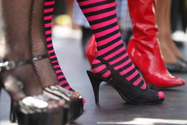Drag queens stand on stage during the Guinness World Records largest drag queen stage show event at Hard Rock Cafe in Las Vegas Sunday, April 12, 2015. (Erik Verduzco/Las Vegas Review-Journal) Fol ...
