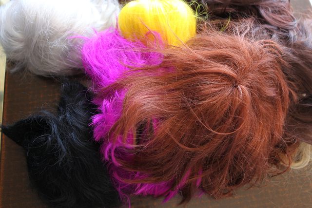 Color wigs are seen during the Guinness World Records largest drag queen stage show event at Hard Rock Cafe in Las Vegas Sunday, April 12, 2015. (Erik Verduzco/Las Vegas Review-Journal) Follow Eri ...