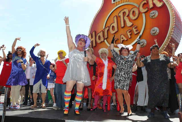 Drag queens dance for the Guinness World Records largest drag queen stage show during an event at Hard Rock Cafe in Las Vegas Sunday, April 12, 2015. (Erik Verduzco/Las Vegas Review-Journal) Follo ...