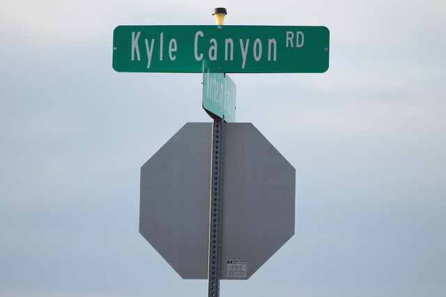 A Kyle Canyon Road sign in Las Vegas is seen on Thursday, April, 9, 2015. Gary Gray, the husband of Clark County Commissioner Chris Giunchigliani, was killed in a car accident earlier today. (Erik ...