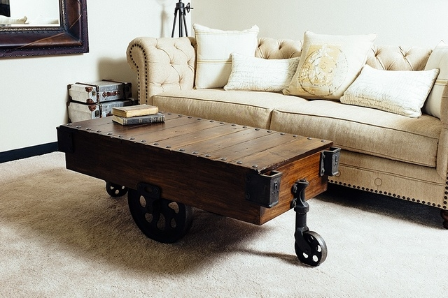 Courtesy Nostalgic Custom Furniture This Coffee Table Is A Reclamation Of The Old Railroad Carts Used