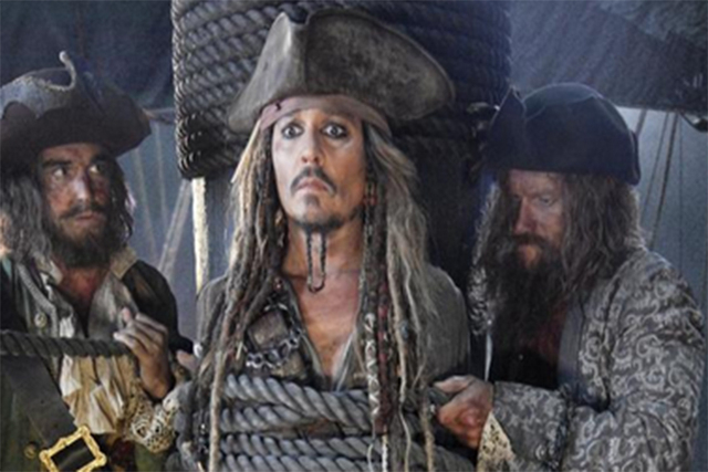 """Johnny Depp as Captain Jack Sparrow in """"Pirates of the Caribbean: Dead Men Tell No Tales."""" Sceengrab (Jerry Bruckheimer/Twitter)"""