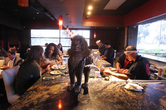 Patrons sit at a counter at Lucky Foo's Restaurant & Bar, 8955 S. Eastern Ave., April 10, 2015. (Sam Morris/Las Vegas Review-Journal) (Follow Sam Morris on Twitter @sammorrisRJ) (Click for more ph ...
