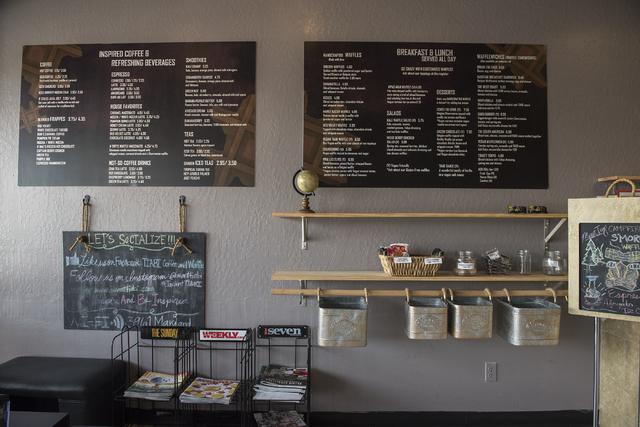 The menu at Tiabi Coffee & Waffle Bar is shown April 10, 2015. (Martin S. Fuentes/View)