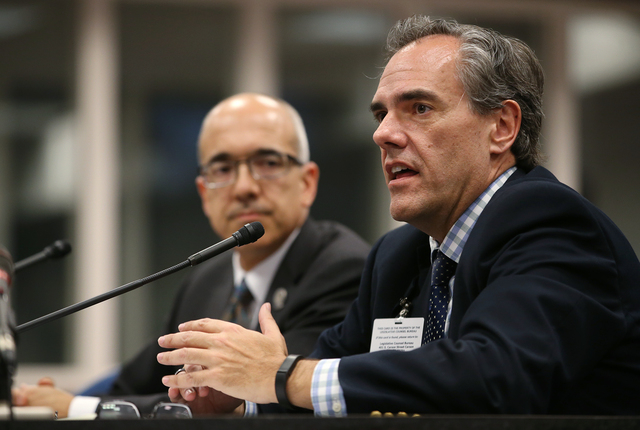 Nevada Superintendent Dale Erquiaga testifies at the Legislative Building in Carson City, Nev., on Thursday, April 30, 2015. Erquiaga and Sen. Mo Denis, D-Las Vegas, left, urged lawmakers to suppo ...