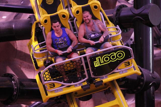 Rivo Rene, left, and his friend Martin Tähtvere, ride El Loco roller coaster inside the Adventuredome theme park at Circus Circus casino-hotel in Las Vegas Wednesday, April 22, 2015. El Loco  ...
