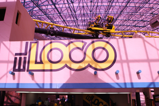 El Loco roller coaster inside the Adventuredome theme park at Circus Circus casino-hotel in Las Vegas is seen on Wednesday, April 22, 2015. El Loco is celebrating their one year anniversary. (Erik ...