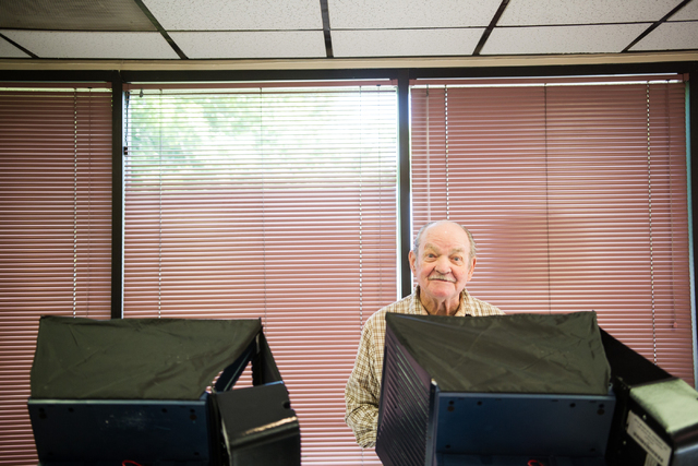 Glen Dunning glances up after casting his vote in the municipal election at the Las Vegas Senior Center at 451 E. Bonanza Road in Las Vegas on Tuesday, April 7, 2015. (Chase Stevens/Las Vegas Revi ...