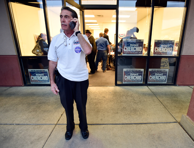 Richard Cherchio takes a call during his election night party at his North Las Vegas campaign headquarters on Tuesday, April 7, 2015. Cherchio, who lost his last election by one vote, ran again fo ...
