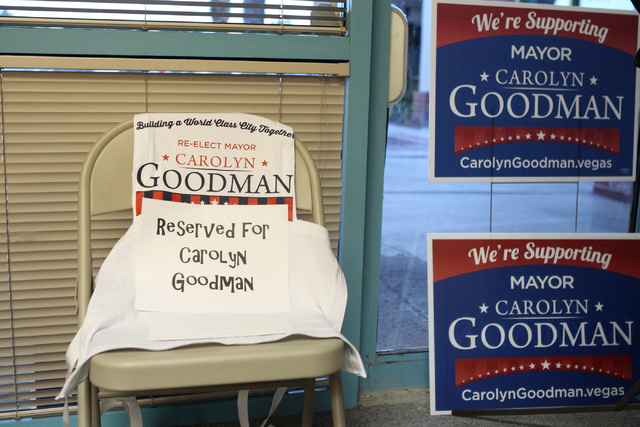 A chair reserved for Mayor Carolyn Goodman is seen at her re-election night party at her campaign headquarters in Las Vegas Tuesday, April 7, 2015. (Erik Verduzco/Las Vegas Review-Journal) Follow  ...