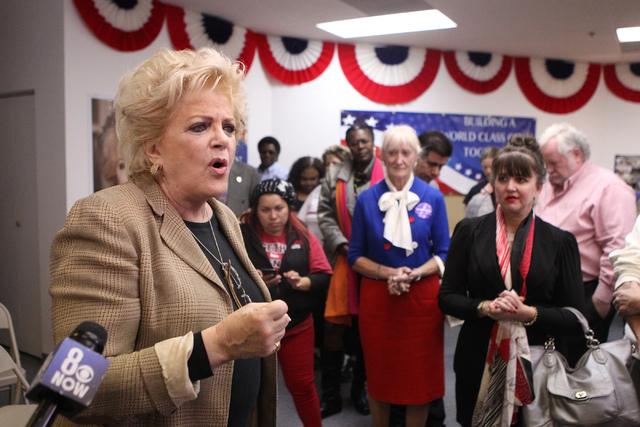 Mayor Carolyn Goodman makes a speech at her re-election night party at her campaign headquarters in Las Vegas Tuesday, April 7, 2015. (Erik Verduzco/Las Vegas Review-Journal) Follow Erik Verduzco  ...
