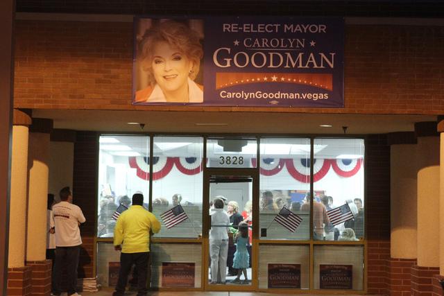 Mayor Carolyn Goodman's campaign headquarters is seen during her re-election night party in Las Vegas Tuesday, April 7, 2015. (Erik Verduzco/Las Vegas Review-Journal) Follow Erik Verduzco on Twitt ...