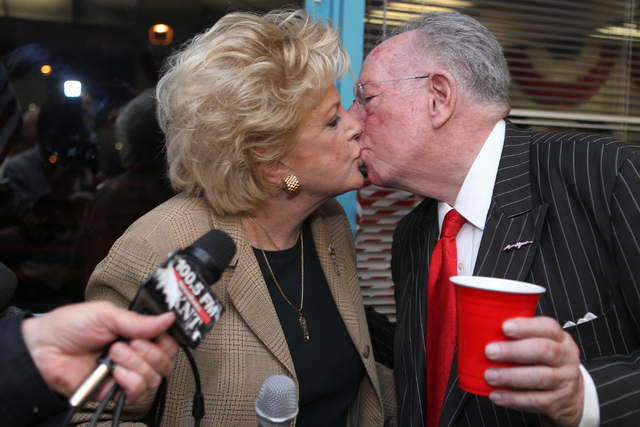 Mayor Carolyn Goodman, left, kisses her husband Oscar after giving a victory speech for her supporters at her re-election night party at her campaign headquarters in Las Vegas Tuesday, April 7, 20 ...