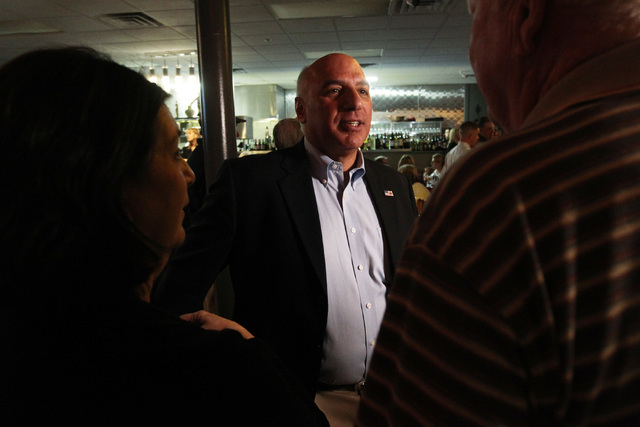 Las Vegas City Councilman Stavros Anthony talks with supporters during an election night party at Mykonos Greek restaurant Tuesday, April 7, 2015. (Sam Morris/Las Vegas Review-Journal) Follow Sam  ...