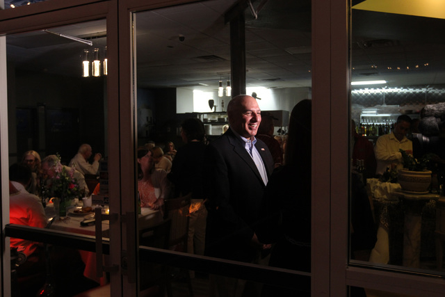 Las Vegas City Councilman Stavros Anthony gives an interview during an election night party at Mykonos Greek restaurant Tuesday, April 7, 2015. (Sam Morris/Las Vegas Review-Journal) Follow Sam Mor ...