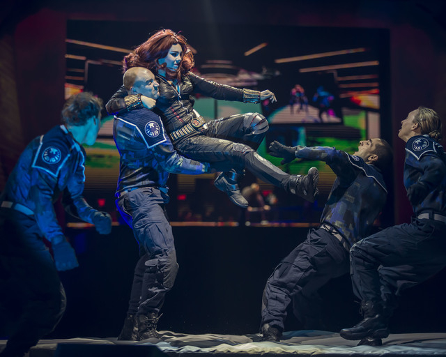 "A stunt performer portraying the Black Widow participates in a stage fight in a previous performance of ""Marvel Universe Live,"" planned April 23-26 at the Thomas and & Mack Center, 4505 S. Marylan ..."
