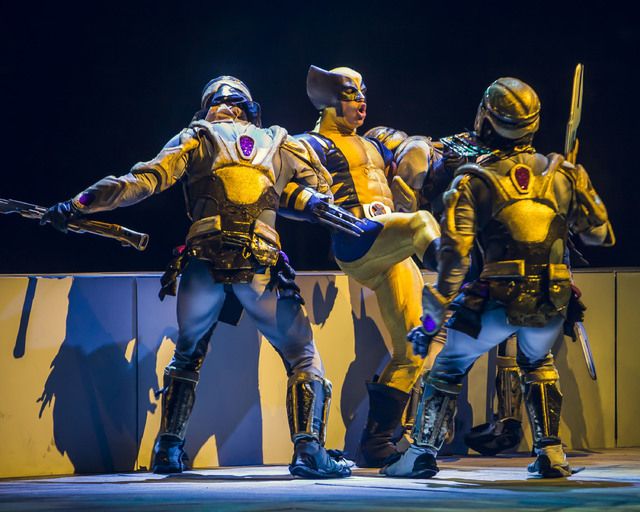 "A stunt perormer portraying Wolverine  takes part in stage combat with cast members portraying Chitauri warriors in ""Marvel Universe Live."" (Special to View)"