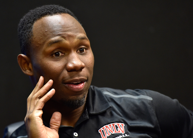UNLV football strength and conditioning coach Keith Belton speaks during an interview in his weight room office at UNLV on Monday, April 6, 2015, in Las Vegas. (David Becker/Las Vegas Review-Journal)