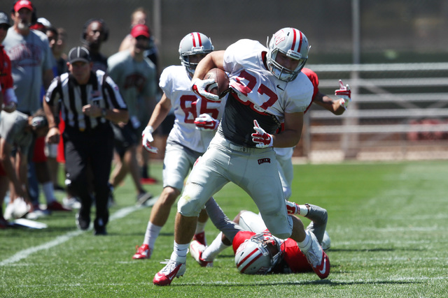 Tight end Antonio Zepeda turns towards the goal line after pulling in a pass during UNLV football's spring scrimmage Saturday, April 18, 2015. (Sam Morris/Las Vegas Review-Journal) Follow Sam Morr ...