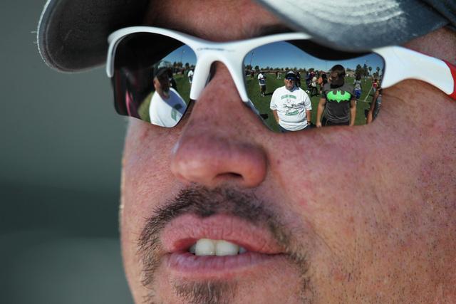 Head coach Tony Sanchez talks to fans after UNLV football's spring scrimmage Saturday, April 18, 2015. (Sam Morris/Las Vegas Review-Journal) Follow Sam Morris on Twitter @sammorrisRJ