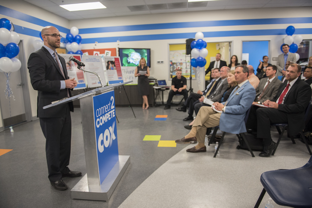 Brian Knudson, president and CEO of the Boys & Girls Clubs of Southern Nevada, speaks to the media during an announcement for the Connect2Compete program at a ribbon cutting ceremony for the Cox T ...