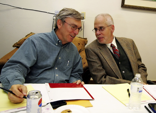 Doug Jydstrup, left, talks with Gary Gray while attending a Clark Towers board of directors meeting in Las Vegas, Nevada on Feb. 1, 2010. Nevada Highway Patrol reports on Thursday indicate that Gr ...