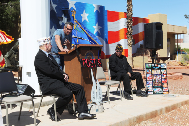 Artist Scott LoBaido speaks during a ceremony to thank him for the U.S. flag that he painted on the side of American Legion Post 8 Wednesday, April 8, 2015. (Sam Morris/Las Vegas Review-Journal) F ...