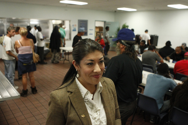 Lucy Flores is interviewed at the Salvation Army Community Homeless Meal kitchen in North Las Vegas Thursday, Oct. 23, 2014. Flores helped feed people during a stop in her 24-hour get out the vote ...