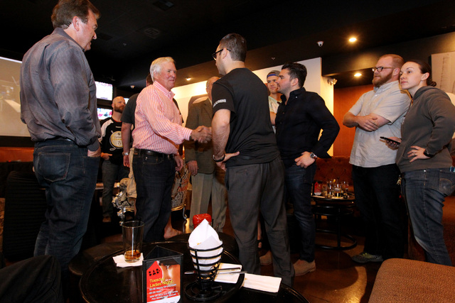 Bill Foley greets hockey fans at an event to promote season ticket sales for a potential NHL franchise Tuesday, March 24, 2015 at Born and Raised bar. (Sam Morris/Las Vegas Review-Journal) Follow  ...