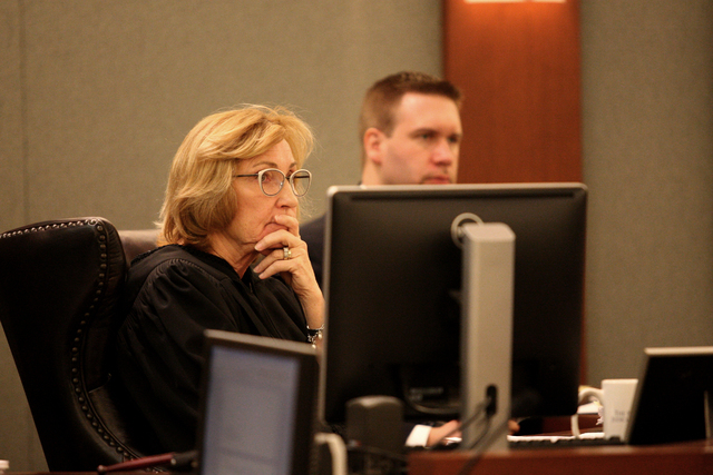 Judge Kerry Earley listens to Delores Hales tell how Karen Furlough stole Hales' life savings on Tuesday, March 31, 2015 (Michael Quine/Las Vegas Review-Journal) Follow Michael Quine on Twitter @V ...