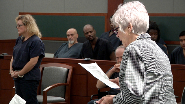 Delores Hales, right, addresses the court of Judge Kerry Earley before the sentencing of Karen Furlough for theft and forgery charges after she stole Hales' life savings. Tuesday, March 31, 2015 ( ...