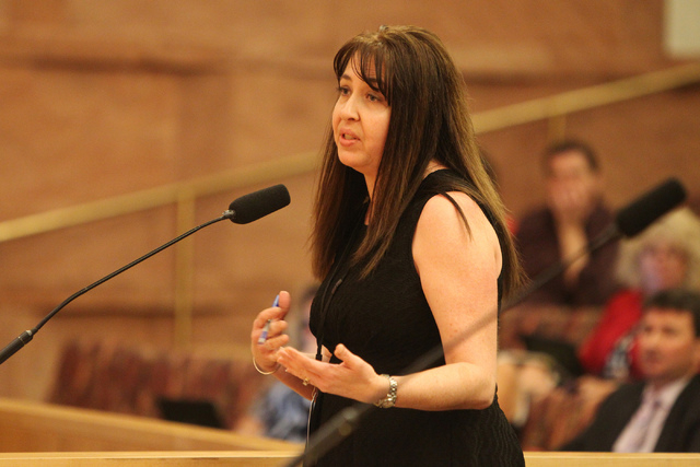 Desiree Ducharme, acting public guardian supervisor for Clark County Public Guardian, speaks during a discussion on court-appointed guardianships at the Clark County Commission chambers in Las Veg ...