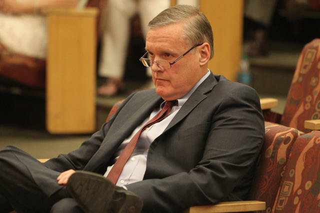 Clark County District Chief Judge David Barker listens during a discussion on court-appointed guardianships at the Clark County Commission chambers in Las Vegas Tuesday, April 21, 2015. (Erik Verd ...