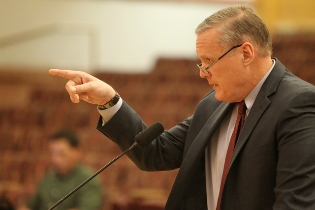 Clark County District Chief Judge David Barker speaks during a discussion on court-appointed guardianships at the Clark County Commission chambers in Las Vegas Tuesday, April 21, 2015. (Erik Verdu ...