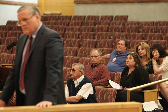 People listen during a discussion on court-appointed guardianships at the Clark County Commission chambers in Las Vegas Tuesday, April 21, 2015. (Erik Verduzco/Las Vegas Review-Journal) Follow Eri ...